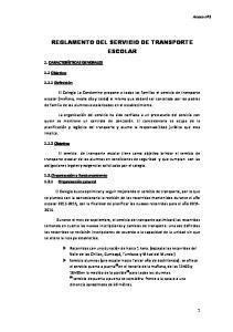 REGLAMENTO DEL SERVICIO DE TRANSPORTE ESCOLAR