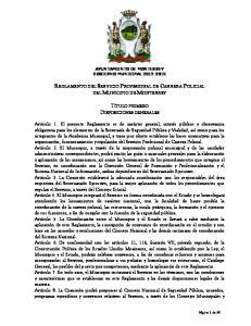 REGLAMENTO DEL SERVICIO PROFESIONAL DE CARRERA POLICIAL