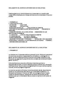 REGLAMENTO DEL SERVICIO UNIVERSITARIO DE BIBLIOTECA