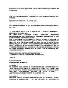 Reglamento del Sistema de Agua Potable y Alcantarillado del Municipio de Allende. 19 ENERO 1999