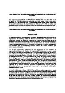 REGLAMENTO DEL SISTEMA DE ESTUDIOS DE POSGRADO DE LA UNIVERSIDAD NACIONAL