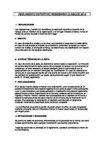 REGLAMENTO DEPORTIVO RESISBARNA CLASICOS 2012