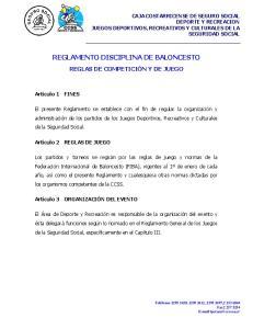 REGLAMENTO DISCIPLINA DE BALONCESTO