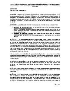 REGLAMENTO GENERAL DE CREDITO PARA VIVIENDA CON RECURSOS PROPIOS
