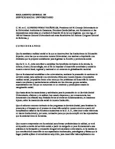 REGLAMENTO GENERAL DE SERVICIO SOCIAL UNIVERSITARIO