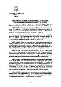 REGLAMENTO GENERAL DE SERVICIOS DEL CEMENTERIO MUNICIPAL DEL EXCMO. AYUNTAMIENTO DE OLVERA