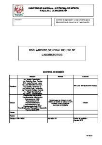 REGLAMENTO GENERAL DE USO DE LABORATORIOS