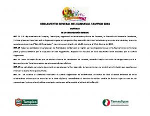 REGLAMENTO GENERAL DEL CARNAVAL TAMPICO 2013