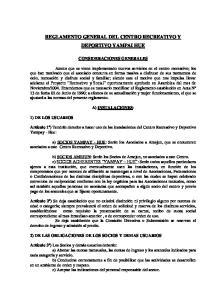 REGLAMENTO GENERAL DEL CENTRO RECREATIVO Y DEPORTIVO YAMPAI HUE
