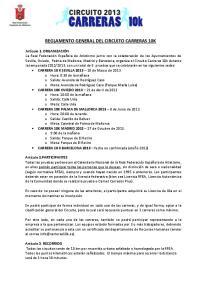 REGLAMENTO GENERAL DEL CIRCUITO CARRERAS 10K