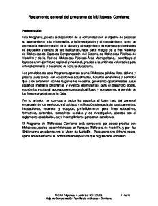 Reglamento general del programa de bibliotecas Comfama