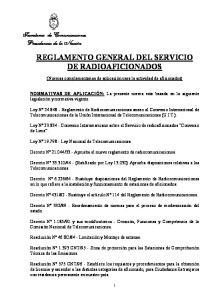 REGLAMENTO GENERAL DEL SERVICIO DE RADIOAFICIONADOS
