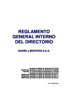 REGLAMENTO GENERAL INTERNO DEL DIRECTORIO
