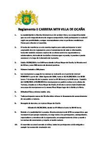 Reglamento II CARRERA MTB VILLA DE OCAÑA
