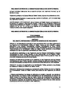 REGLAMENTO INTERIOR DE LA ADMINISTRACION PUBLICA DEL DISTRITO FEDERAL