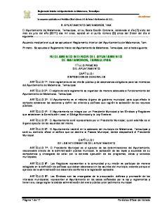 REGLAMENTO INTERIOR DEL AYUNTAMIENTO DE MATAMOROS, TAMAULIPAS