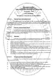 REGLAMENTO INTERNO COLEGIO FRAY LUIS BELTRÁN HNAS. FRANCISCANAS MISIONERAS DE LA INMACULADA VALPARAÍSO CHILE TÍTULO PRILIMINAR