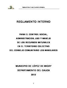 Reglamento Interno Consejo Comunitario Los Manglares REGLAMENTO INTERNO