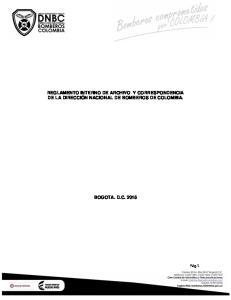 REGLAMENTO INTERNO DE ARCHIVO Y CORRESPONDENCIA DE LA DIRECCIÓN NACIONAL DE BOMBEROS DE COLOMBIA