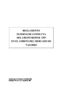 REGLAMENTO INTERNO DE CONDUCTA DEL GRUPO REPSOL YPF EN EL AMBITO DEL MERCADO DE VALORES