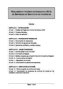 REGLAMENTO INTERNO DE CONDUCTA (RIC)