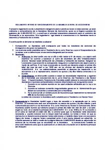 REGLAMENTO INTERNO DE FUNCIONAMIENTO DE LA ASAMBLEA GENERAL DE ACCIONISTAS
