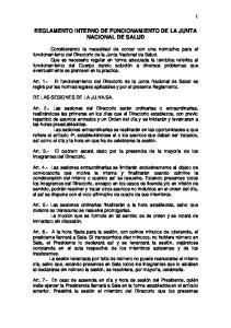 REGLAMENTO INTERNO DE FUNCIONAMIENTO DE LA JUNTA NACIONAL DE SALUD