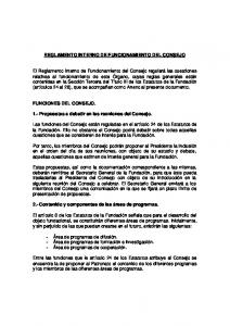 REGLAMENTO INTERNO DE FUNCIONAMIENTO DEL CONSEJO