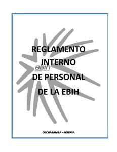 REGLAMENTO INTERNO DE PERSONAL DE LA EBIH