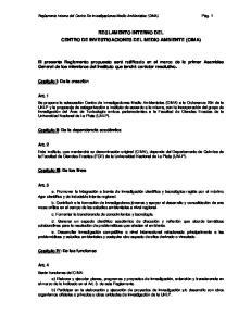 REGLAMENTO INTERNO DEL CENTRO DE INVESTIGACIONES DEL MEDIO AMBIENTE (CIMA)