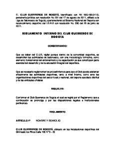 REGLAMENTO INTERNO DEL CLUB GUERREROS DE BOGOTA
