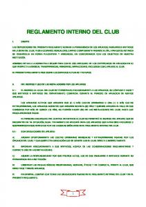 REGLAMENTO INTERNO DEL CLUB