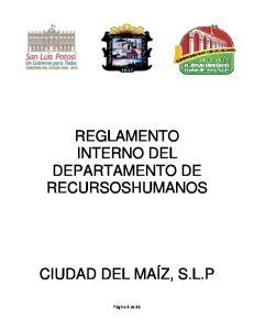 REGLAMENTO INTERNO DEL DEPARTAMENTO DE RECURSOSHUMANOS