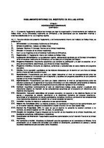 REGLAMENTO INTERNO DEL INSTITUTO DE BELLAS ARTES