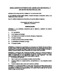 REGLAMENTO INTERNO DEL MERCADO MUNICIPAL 5 DE MAYO MANZANILLO, COL