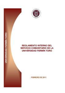 REGLAMENTO INTERNO DEL SERVICIO COMUNITARIO DE LA