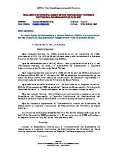 REGLAMENTO INTERNO DEL SUBSISTEMA DE DISPENSACION Y EXPENDIO INSTITUCIONAL DE MEDICAMENTOS EN EL MSP