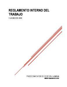REGLAMENTO INTERNO DEL TRABAJO FUNDACION IMIX