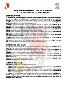 REGLAMENTO INTERNO DISCIPLINARIO DEL CLUB BALONCESTO TORRELAGUNA