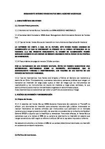 REGLAMENTO INTERNO FONDO MUTUO BBVA ACCIONES NACIONALES Nombre del Fondo Mutuo: Fondo Mutuo BBVA ACCIONES NACIONALES