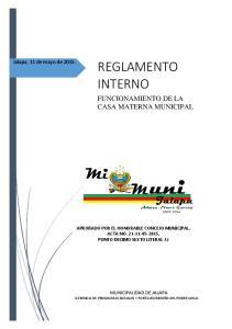 REGLAMENTO INTERNO FUNCIONAMIENTO DE LA CASA MATERNA MUNICIPAL