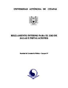 REGLAMENTO INTERNO PARA EL USO DE SALAS E INSTALACIONES