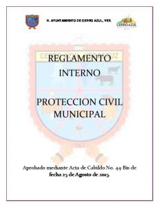 REGLAMENTO INTERNO PROTECCION CIVIL MUNICIPAL