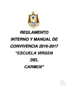 REGLAMENTO INTERNO Y MANUAL DE CONVIVENCIA ESCUELA VIRGEN DEL CARMEN