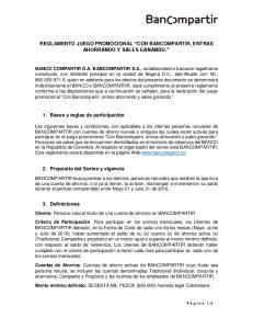 REGLAMENTO JUEGO PROMOCIONAL CON BANCOMPARTIR, ENTRAS AHORRANDO Y SALES GANANDO