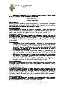 REGLAMENTO MUNICIPAL DE LAS AGRUPACIONES LOCALES DE VOLUNTARIOS DE PROTECCION CIVIL DE LA COMUNIDAD VALENCIANA