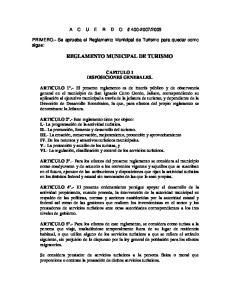 REGLAMENTO MUNICIPAL DE TURISMO