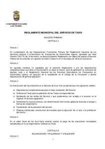REGLAMENTO MUNICIPAL DEL SERVICIO DE TAXIS