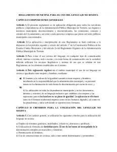 REGLAMENTO MUNICIPAL PARA EL USO DEL LENGUAJE NO SEXISTA