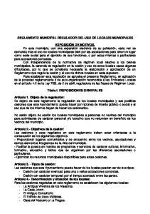 REGLAMENTO MUNICIPAL REGULADOR DEL USO DE LOCALES MUNICIPALES